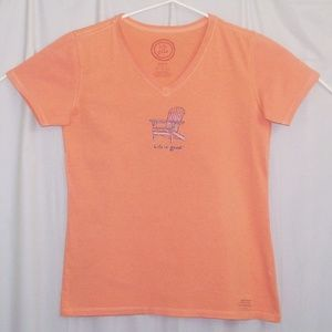 Life Is Good V-Neck T-Shirt Orange Small